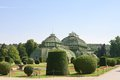 Palm pavilion and floral lawn schonbrunn vienna in the park of austria Stock Photography
