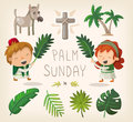 Palm sunday design elements decorative for and leaves Royalty Free Stock Photos