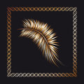 Palm tree branch in the frame. Royalty Free Stock Photo