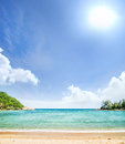 Palm tree forest beach and mountains thailand Stock Photos