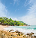 Palm tree forest beach and mountains thailand Royalty Free Stock Photography