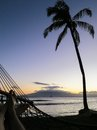 Palm tree and hammock on beach at sunset the silhouette of a a hawaiian with a sail boat in the distance a couple s feet relaxing Stock Photography