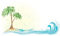 Palm tree island hand drawn horizontal vignette of Stock Image