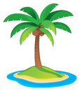 Palm tree a logo icon drawing for a tropical vacation Stock Image