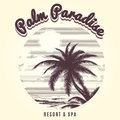 Palm tree and ocean sketch logo Royalty Free Stock Photo