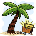 Palm tree and pirate chest on the seashore Royalty Free Stock Photo