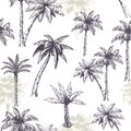 Palm tree seamless pattern. Beautiful island landscape exotic nature with palm trees, beach and ocean tropical jungle Royalty Free Stock Photo