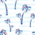 Palm tree seamless vector pattern background with palm trees. Tropic summer design with stripes.