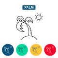 Palm tree and sun icon. Royalty Free Stock Photo