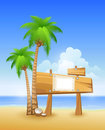 Palm tree and wooden sign on a beach Royalty Free Stock Image