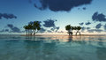 Palm trees and amazing cloudy sky on sunset at tropical island in Indian Ocean 3D rendering Royalty Free Stock Photo