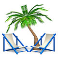 Palm trees with beach chairs d render illustration on white Royalty Free Stock Image