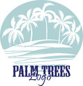 Palm trees on the Beach Logo. Silhouette - vector Royalty Free Stock Photo