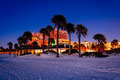 Palm trees on the beach at night in Clearwater Beach, Florida. Royalty Free Stock Photo
