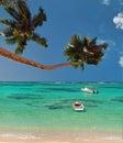 Palm trees & boats of paradise lagoon . Royalty Free Stock Photo