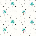 Palm trees and coconuts  seamless pattern with polka dots. Royalty Free Stock Photo
