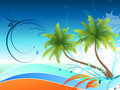 Palm trees floral background with Royalty Free Stock Photos