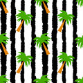 Palm trees on grunge black and white stripes seamless vector pattern background illustration Royalty Free Stock Photo