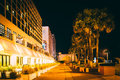 Palm trees and hotels at night, in Daytona Beach, Florida. Royalty Free Stock Photo