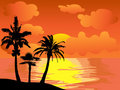 Palm trees island at sunset Stock Photography