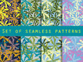 Palm trees, leaves of palm tree. Set of seamless patterns. The p Royalty Free Stock Photo