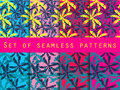 Palm trees, leaves of palm tree. Set of seamless patterns. Royalty Free Stock Photo