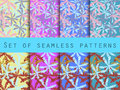 Palm trees, leaves of palm tree. Set of seamless patterns. The pattern for wallpaper, bed linen, tiles, fabrics, backgrounds. Royalty Free Stock Photo