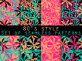 Palm trees, leaves of palm tree. Set of seamless patterns Royalty Free Stock Photo