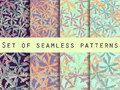 Palm trees, leaves of palm tree. Set of seamless patterns. Vector illustration. Royalty Free Stock Photo