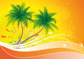 Palm trees with orange floral background Stock Photos