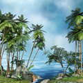 Palm trees by the sea tropical landscape with Royalty Free Stock Photography