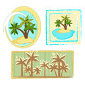 Palm trees set of three patterns Stock Image