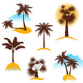 Palm trees stylized tree icons Royalty Free Stock Photos