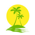 Palm Trees Sun Tropical Island Icon Vector Royalty Free Stock Photo