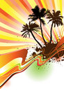 Palm trees with text area Vector Royalty Free Stock Photo