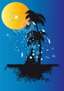 Palm trees under sun and stars Royalty Free Stock Images