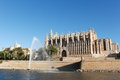 Palma cathedral with fountain majorca balearic islands spain pond clear blue sky afternoon wide angle lens Stock Image