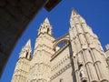 Palma cathedral of santa maria of in majorca catedral de santa maría de de mallorca with blue sky Royalty Free Stock Images