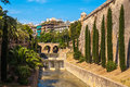 Palma de mallorca historic wall and bridge in photographed in august Stock Image