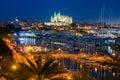 Palma de Mallorca at Night Royalty Free Stock Photo