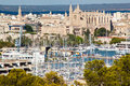 Palma de mallorca port and cathedral la seu view from belver castle balearic island spain Stock Images