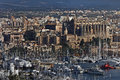 Palma majorca is the principle city on spain and the cathedral seen here on the right of the picture is a spectacular Royalty Free Stock Photography