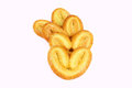 Palmiers elephant ear puff pastry cookie white background Royalty Free Stock Image
