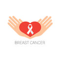 Palms Hold Heart Shape With Pink Ribbon Breast Cancer Awareness