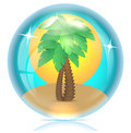Palms on sand and sun in a glass sphere Stock Image