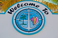 Palms, signboard, welcome to Monroe County, Key West, Keys, Cayo Hueso, island, Florida Royalty Free Stock Photo