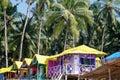 Palolem beach goa india сoloured bungalow on the coast in south Stock Photography