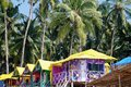Palolem beach goa india сoloured bungalow on the coast in south Stock Photography