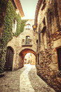 Pals costa brava this is one of the greatest street of a small gothic mediterranean village near the sea in the heart of Stock Photography
