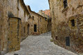 Pals street in the small medieval mediterranean village of near the coast of costa brava spain Stock Image